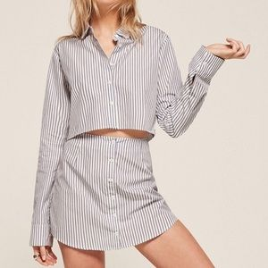 Reformation Etienne Striped Cropped Blouse Top
